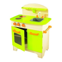 educo - Gourmet Chef Kitchen in Green - Features: -Gourmet chef kitchen. -Color: Green. -Child size gourmet chef kitchen lets kids create their own meal - time treats. -Peek into the oven through the window to check on dinner or turn the chuck knobs to change the temperature. -Cleanup is a snap with the sink,hutch and towel rackand the cupboard space to store all dishware and pots and pans. -Simple classic design and natural colors offer loads of possibilities for playtime. -Accessories are sold separately. -Assembly required.