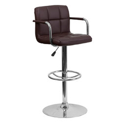 "Flash Furniture - Brown Quilted Vinyl Adjustable Height Bar Stool with Arms and Chrome Base - This sleek dual purpose stool easily adjusts from counter to bar height. The simple design allows it to seamlessly accent any area in the home. Not only is this stool stylish, but very comfortable to provide you with an amazing sitting experience! The easy to clean vinyl upholstery is an added bonus when stool is used regularly. The height adjustable swivel seat adjusts from counter to bar height with the handle located below the seat. The chrome footrest supports your feet while also providing a contemporary chic design. Counter Height or Bar Stool; Brown Vinyl Upholstery; Quilted Design Covering; Comfortable Seat with Mid-Back; Chrome Arms; Swivel Seat; Height Adjustable Seat with Gas Lift; Foot Rest; Chrome Base; Base Diameter: 19.5""; CA117 Fire Retardant Foam; Designed for Residential Use; Overall dimensions: 20""W x 18""D x 36.75"" - 45.25""H"