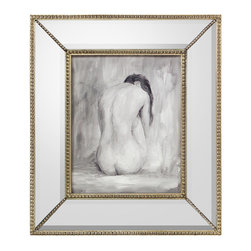 Figure in Black and White II with Beveled Mirror Frame - A study in reflection. A consideration of that which has passed. A reflection of beauty unadorned. All are artfully rendered in the Figure in Black and White II. The nude under glass is presented in misty shades of soft gray, with touches of light and dark shadows adding depth and dimension. The wide mirrored frame, accented with petite beading in the bevel and each corner, lends a refined glamour befitting a boudoir, bath, or private dressing room.
