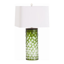 Arteriors - Brand Lamp, Green - This unusual table lamp brings cut-above style to your favorite contemporary setting. The cylindrical hand-etched glass base features glowing tones, an intriguing complement to the rectangular shade.