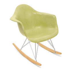 Modernica Case Study Arm Shell Rocker - This rocker by Modernica is a copy of the original Eames rocker design. Beware that this is not a good rocker if you want something comfortable to rock your baby in, but it looks and works great as an extra spot for seating in your nursery or playroom.