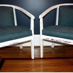 """Vintage White Painted Barrel Chairs - A Pair - We're sitting pretty! This pair of vintage barrel back chairs with an iridescent blue fabric is in excellent condition. Very popular design and style. The wood is painted with Anne Sloan Pure White paint and distressed.  Measurements: 30"""" high at the back 18"""" high at the seat 21"""" across the seat and 17"""" deep"""
