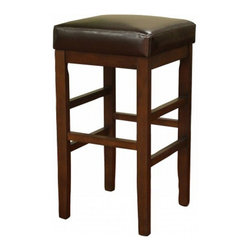 American Heritage - American Heritage Empire 26 Inch Counter Height Stool in Sierra - Give new life to any space with this simple yet stylish counter stool. Offered in a rich sierra finish complete with merlot leather, this barstool will remain timeless for years to come. What's included: Counter Height Stool (1).