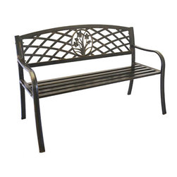 Pier Surplus - Metal Flower Bouquet Park Bench - Cast Iron Bench for Yard or Garden #PB11117 - A park bench is both a point of interest in your back yard as well as a great place to rest and enjoy your garden. This graceful model features a flower bouquet as a centerpiece surrounded by a basket weave pattern. Because the Rosalina bouquet park bench was built using cast iron and steel, it can stay out in all sorts of weather. A lovely gift for anyone with a garden.