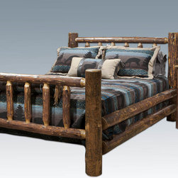 """Montana Woodworks - Glacier Country Log Bed, Queen - This classic, spindle style log bed has graced American homes throughout the land. A wonderful addition to any rustic style home or any home in need of some rustic style, this bed is as comfortable as it is charming. Handcrafted in Montana using solid, American grown wood, each piece is finished in the unique """"Glacier Country"""" collection style reminiscent of the Grand Lodges of the Rockies, circa 1900. First we remove the outer bark but leave the inner, cambium layer intact for contrast and texture. Final steps include staining and lacquering in a professional eight step spraying process, making this piece as unique as it is functional. The mortise and tenon joinery system employed by our artisans has been used for millennia to join multiple components into a single, solid and strong assembly thus ensuring a truly heirloom quality piece that will last for generations to come. Two log side rails per side increase the strength and rigidity while simultaneously adding value. Some assembly required. 20-year limited warranty included at no additional charge. Hand Crafted in Montana U.S.A.; Solid, U.S. grown wood; Unique, one-of-a-kind Glacier Country style.; Heirloom Quality; 20 Year Limited Warranty; Durable Build, Fit and Finish; Each Piece Signed By The Artisan Who Makes It; Mortise and Tenon Joinery; Double Side Rails w/ Steel Attachment Points and Wooden Slat Supports. Dimensions: 66""""W x 94""""L x 47""""H"""