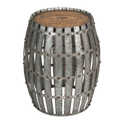 iMax - iMax Gibbs Wood and Metal Barrel X-99247 - You will love the Gibbs wood and metal barrel! Constructed of galvanized, riveted metal strips with a wooden top bearing a vintage wine logo, it will lend character when used as a side table.