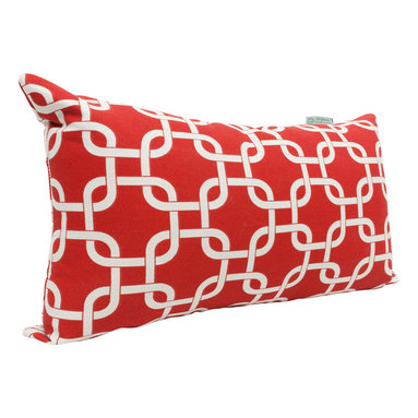 Majestic Home - Indoor Red Links Small Pillow - Been there, done that with stripes and solids? Throw this uniquely patterned pillow made of durable cotton twill into your mix — living room, bedroom, chick cave, wherever.