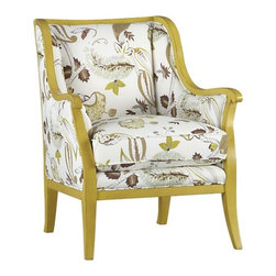 Carly Chair with Yellow Frame - This scaled down wingback chair will add a beautiful botanical fabric and bright frame  to your home. Use is as an occasional chair in the living room or bedroom, or perhaps buy a pair to serve as host and hostess chairs in the dining room.