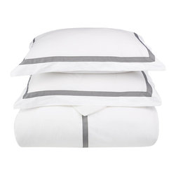 Miller Full/Queen Duvet Cover Set Cotton - White/Black - Miller Full / Queen Duvet Cover Set Cotton - White / Black