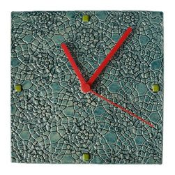 Zsofia + Istvan - Zsofia + Istvan Fractured Handmade Ceramic Wall Clock / Teal Glaze - Handmade romantic crocheted print with a modern look which satisfies all age groups. Each piece is custom made.