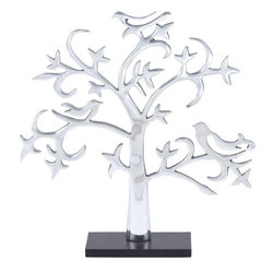Benzara - Aluminium Decor Tree with Silver Finish - Bring home this 19 in. H Attractive Aluminum Decor Tree with Silver Finish to spread peace and prosperity in your home. A tree symbolizes peace and prosperity and hence you can keep it any part of room to fill it with peace. This charming imitation of a tree is sure to make an excellent pick for your home decor. Featuring a silver finish, this amazing accessory displays a classy elegance that can enhance interior aesthetics to the max. Ideal for incorporating in dining and living rooms and even in offices, this tree includes a clean style that makes it suitable for all kinds of decor and settings. It is crafted from aluminum that ensures better stability and durability.