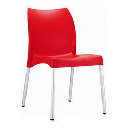 Compamia - Vita Resin Outdoor Dining Chair Red - Set of 2 - Vita resin indoor outdoor dining chair. Made from commercial grade resin with rust free aluminum legs. Great for outdoor spaces, patios and decks. Used by restaurants, cafes and hotels. Legs are anodized aluminum. Color Red.