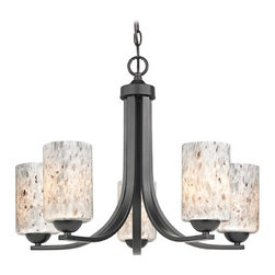 Design Classics Lighting - Modern Chandelier with Grey Art Glass in Matte Black Finish - 584-07 GL1025C - Contemporary / modern matte black 5-light chandelier. Takes (5) 100-watt incandescent A19 bulb(s). Bulb(s) sold separately. UL listed. Dry location rated.
