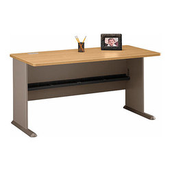 Bush Business - 60 in. Desk in Light Oak - Series A - Save big on a classic spacious desk with a clean modern look.  Our 60 Desk is finished in scratch-resistant light oak.  Complete your workspace with an overhead hutch and a pencil drawer, as well as a sliding keyboard shelf and you are ready to balance your checkbook or receive clients.  This oak colored computer desk would make a great addition to any room, adding functionality with style.  Add a top hutch, pencil drawer, and sliding keyboard shelf to the package and get set to work! * Save big on a classic spacious desk with a clean modern look. Our 60 Desk is finished in scratch-resistant light oak. Complete your workspace with an overhead hutch and a pencil drawer. 59.606 in. W x 26.811 in. D x 29.764 in. H