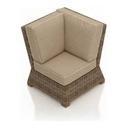 Forever Patio - Cypress Outdoor Wicker Sectional Corner, Spectrum Mushroom Cushions - Take your sectional in a new direction with the functional Forever Patio Cypress Patio Wicker Sectional Corner Chair with Beige Sunbrella cushions (SKU FP-CYP-SCC-HR-SM). The heather-colored resin wicker is UV-protected, and features subtly muddled tones for a varied, natural look. Each strand of this outdoor wicker is made from High-Density Polyethylene (HDPE) and is infused with its rich color and UV-inhibitors that prevent cracking, chipping and fading ordinarily aused by sunlight. This wicker outdoor sectional piece is supported by thick-gauged, powder-coated aluminum frames that make it more durable than natural rattan. This sectional piece includes fade- and mildew-resistant Sunbrella cushions for added comfort in your outdoor space.