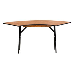 Flash Furniture - 5.5 ft. x 2 ft. Serpentine Wood Folding Banquet Table - This semi-circular wood folding table allows you to create a serpentine, half circle or full circle table. The serpentine table allows you to create beautiful arrangements for weddings, banquets and other events. Create a serpentine table by placing two tables in alternate directions. Create a half circle or full circle by placing two or four tables together from end-to-end. When no longer needed quickly fold the legs underneath tabletop and store away until the next event.