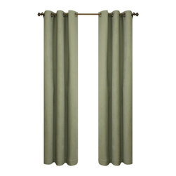 Commonwealth Home Fashions - Thermalogic? Sage 80 x 84-Inch Weathermate Grommet Top Two Panel Pair - - A solid color insulated Cotton duck fabric  - Six Antique Brass metal grommets per panel  - 1-inch side hems and 3-inch bottom hem  - Pocket Construction: Grommet top  - Additional Necessary Hardware: Decorative Rod  - Laundry Instruction: Washable  - Lining Fabric: 100% Acrylic Suede Commonwealth Home Fashions - 70370188080084714