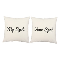 Store51 LLC - My Spot Throw Pillows 16x16 Square White Cotton Cushions - FEATURES: