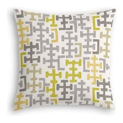 Gray & Citron Modern Cross Motif Custom Throw Pillow - The every-style accent pillow: this Simple Throw Pillow works in any space.  Perfectly cut to be extra fluffy, you'll not only love admiring it from afar but snuggling up to it too! We love it in this gray and chartreuse modern geometric in medium weight cotton.  This may just sum up what your living space is missing.