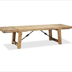 """Benchwright Reclaimed Wood Extending Dining Table, 48 x 30"""", Waxed Pine - Reminiscent of the bold, industrial character of an early 20th-century work table, our Benchwright Dining Table creates an expressive backdrop for entertaining. Its reclaimed pine top has a weathered and timeworn patina, providing beautiful evidence of its past use; the legs and top are accented with oversized metal bolts and metal support brackets with turnbuckle details. Two drop-in leaves allow seating for a large gathering. 86"""" long x 42"""" wide x 30"""" high; extends to 122"""" long; seats up to 12 Expertly crafted from thick planks of meticulously weathered and distressed reclaimed pine with forged iron. Detailed with oversized bolts on the legs and tabletop. Finished by hand with a wax finish to protect the wood without concealing its character. Wax Pine finish. Due to the nature of planked wood, the table may have small spaces between the panels. View our {{link path='pages/popups/fb-dining.html' class='popup' width='480' height='300'}}Furniture Brochure{{/link}}."""
