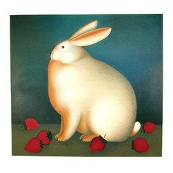 Igor Galanin, Rabbit with Strawberries - II, Serigraph - Artist:  Igor Galanin, Russian / American (1937 - )