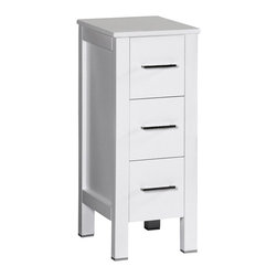"""Bosconi - 12"""" Bosconi AB1S Side Cabinet, White - You asked for the perfect side cabinet, and you've found it! This 12"""" glossy white Bosconi detached side cabinet is the best choice for quality and versatility. Use one or multiple to complete your space. Featuring three pull-out drawers each, this cabinet offers plenty of space for all of your bathroom needs."""