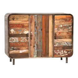 Industrial Furniture Ideas - Otis sideboard by Dovetail furniture. Constructed of iron and reclaimed boatwood.
