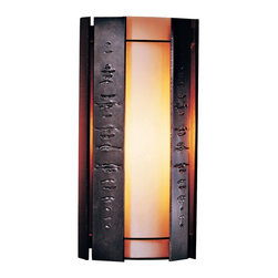 "Hubbardton Forge - Asian Hubbardton Forge Textured Panels 15"" High Outdoor Wall Light - A soothing simplicity pervades this attractive design. The vertical textured panels add bite and personality to the design. All Hubbardton Forge outdoor fixtures are made of durable rust-free aluminum and must pass rigorous salt spray tests to replicate extreme weather conditions and UV exposures. Opaque dark smoke finish. White art glass. Suitable for wet locations. Takes one 100 watt bulb (not included). 15"" high. 7"" wide. Extends 4 3/4"" from the wall.  Opaque dark smoke finish.   White art glass.   Suitable for wet locations.   Made in USA.  Takes one 100 watt bulb (not included).   15"" high.   7"" wide.   Extends 4 3/4"" from the wall."