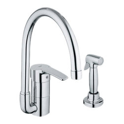 Grohe - Grohe 33980001 High Profile With Side Spray In Starlight Chrome - Grohe 33980001 from the Eurostyle Facet Collection features the lastest in technology and adds contemporary style to match nearly any design. With SilkMove for improved performance and effortless operation. The Grohe 33980001 is a High Profile with Side Spray With a dazzling and highly reflective Chrome finish.