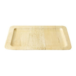 Bambooware - 11.9 x 8.4 Inch Bamboo Steath Rectangle Platter 40 Ct - Made from 100 Percent natural aged bamboo sheath