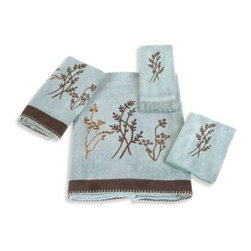 Avanti - Avanti Laguna Bath Towel in Mineral - The wildflower embroidery of this towel collection will add the loveliness of natural beauty to your bathroom decor. Finished off perfectly with a textured fabric band with whip-stitched edges.