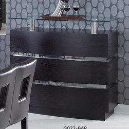 "Global Furniture - G072 Bar Cabinet in Wenge - G072 Bar Cabinet in Wenge;Features: Fixed Cabinet - Color: Wenge, Material: MDF, Wood Veneer;Shelf, door and top: Clear Glass;Dimensions: L47""x D22""x H47"""