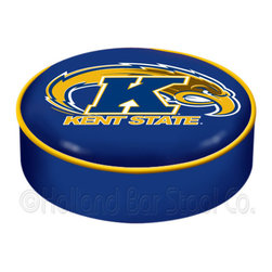 "Holland Bar Stool - Holland Bar Stool BSCKentSt Kent State Seat Cover - BSCKentSt Kent State Seat Cover belongs to College Collection by Holland Bar Stool This Kent State bar stool cushion cover is hand-made in the USA by Covers by HBS; using the finest commercial grade vinyl and utilizing a step-by-step screen print process to give you the most detailed logo possible. This cover slips over your existing cushion, held in place by an elastic band. The vinyl cover will fit 14"" diameter x 4"" thick seats. This product is Officially Licensed. Make those old stools new again while supporting your team with the help of Covers by HBS! Seat Cover (1)"