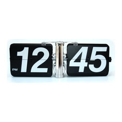 """Giant Flip Clock - Black - The Giant Wall Flip Clock will be the focal point of any room with its quiet flipping numbers and unique design reminiscent of years past. This uniquely large flip clock measures a whopping 13"""" x 5"""" x 4"""" and is wall mountable, or it can rest on any flat surface such as a desk, table, or mantle. The clock operates on one D-size battery, not included."""