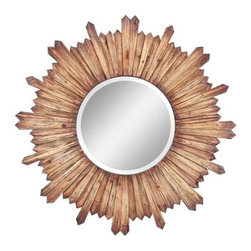 Cooper Classics - Cooper Classics Catherine Mirror, Natural Rustic Wood - The Catherine mirror will add rustic charm to you home's decor. This beveled wall mirror boasts a beautiful natural rustic wood finish that will accent any room.