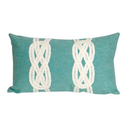 "Double Knot Aqua Print 12"" X 20"" Throw Pillow - This wonderful indoor / outdoor decorative throw pillow looks great in living rooms or patios or wherever you want a dash of color. Made of 100% polyester microfiber. The cover has a zipper closure so you can take out the fiberfill inner pillow for hand-washing if you need to. The pillow measures 12 inches by 20 inches."