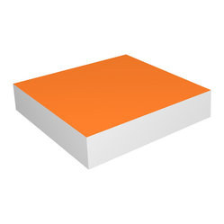 "Way Basics - Floating Shelf 10"", Orange - Look Ma, no brackets! This shelf adheres to the wall with hidden anchors for a clean, contemporary look. Perfect for displaying art, framed photos or treasured mementos, it's made of sturdy recycled paper and is free of formaldehyde and VOCs, so it's easy on the Earth as well as the eyes."