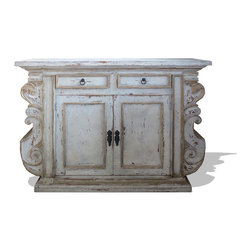 Manchester Small Buffet, Antiqued White with Grey and Gold Leaf - Manchester Small Buffet, Antiqued White with Grey and Gold Leaf
