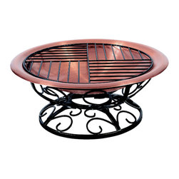Copper Leaf Fire Pit - Sure to create an intimate environment your guests will enjoy this chiminea has an elegant appearance and a versatile design. Hand made by master coppersmiths for maximum durability in a convenient size that will fit almost anywhere this unique piece can be used as a fire pit or chimenea. Enjoy a crackling fire in your backyard, roast marshmallows with friends, you can even cook on the included chrome food grill. Copper will develop a warm patina finish over time.