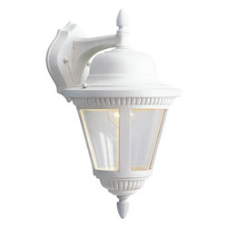 Progress Lighting - Progress Lighting Westport Traditional Outdoor Wall Sconce X-03-3685P - Look no further than this Progress Lighting Westport Traditional Outdoor Wall Sconce when decorating your home. Whether it's installed in your doorway or driveway, this beautiful light fixture, with its crisp and clean white finish and panels of clear, seeded glass will surely gain praise and admiration from anyone who sees it hanging in your home.
