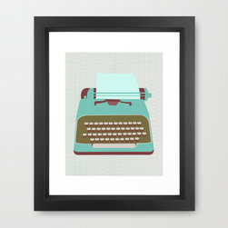 Carriage Return Art Print - Our mini print is perfectly suited to small spaces that need to be filled in your vintage inspired office space. The pop of retro blue is perfect for the mid-century mod style you're craving. Ready to frame, this gallery-quality giclée print will stand up to the years on archival paper.
