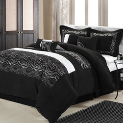 None - Black Zebra 12-piece Bed In a Bag wtih Sheet Set - Take your bedroom on a safari into stylishness with this 12-piece zebra bed-in-a-bag. This all-inclusive micro-fiber set has everything that is needed for a total bedroom transformation, right down to the decorative pillows and sheet set.
