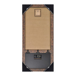 """Enchante Accessories Inc - Wood Framed Wall  Burlap Board & Chalk Bulletin Board 17""""x33"""" (Brown Ruler) - This message board features a Distressed Wooden Framed Burlap Board / chalkboard combination."""