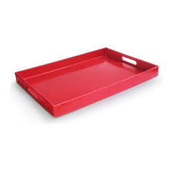 Jay Import Co. - Rectangular Tray, Red - Add some brightness to your serveware with this fun tray, covered in a snakeskin-esque plastic, making it easy to clean. Sleek and modern, you'll look great carrying this tray out to the patio or for breakfast in bed.