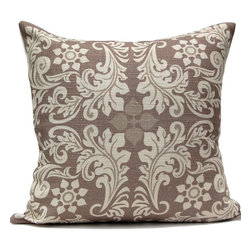 Leaf Square Pillow - Chocolate - *50% Cotton / 30% Linen / 20% Viscose cover. 5% Down / 95% Feather filler. Hidden zipper. Dry clean only. Solid off-white fabric on the back.