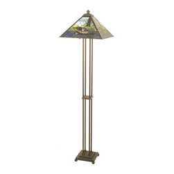 """Meyda - 63""""H Loon Floor Lamp - Loons float on sparkling bluish green waters besidemarsh green grasses in stunning panels handcraftedutilizing stained art glass in a copperfoilconstruction. This handsome mission styled floor baseis finished in mahogany bronze. Custom designs, colorsand sizes available. Bulb type: med bulb quantity: 2 bulb wattage: 60"""