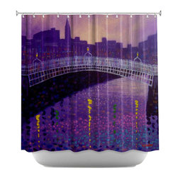 DiaNoche Designs - Shower Curtain Artistic - Purple Mist Ha Penny Bridge - DiaNoche Designs works with artists from around the world to bring unique, artistic products to decorate all aspects of your home.  Our designer Shower Curtains will be the talk of every guest to visit your bathroom!  Our Shower Curtains have Sewn reinforced holes for curtain rings, Shower Curtain Rings Not Included.  Dye Sublimation printing adheres the ink to the material for long life and durability. Machine Wash upon arrival for maximum softness on cold and dry low.  Printed in USA.