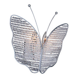 Allegri by Kalco - Giotto Chrome Two-Light Wall Bracket with Firenze Clear Crystal - - The Giotto wall fixture conveys the delicacy of butterfly wings with strands of Clear Firenze crystal beads. The mirror-like Allegri Chrome finish of the antennae and frames holding these translucent strands in place produce a sparkly, hovering butterfly that adds enchantment to any space  - Backplate Dimensions: 6.25-Inch W x 0.75-Inch H x 4.75-Inch L  - Wire Length: 12-Inch  - Bulb is not included  - Crystal Name: Firenze Clear  - Mounting Height: 12-Inch Allegri by Kalco - 11175-010-FR001