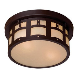 The Great Outdoors - The Great Outdoors GO 8729 2 Light Outdoor Flush Mount Ceiling Fixture from the - The Great Outdoors 8729 Two Light Outdoor Flush Mount Ceiling Fixture from the Harveston Manor CollectionThis beautiful 2 light flush mount fixture features a traditional / classic design from the Harveston Manor collection. This fixture requires two 60 watt candelabra base bulbs and would be a perfect complement to any home or business exterior.Design details are the focus of the Beacon Rhodes collection by The Great Outdoors. The arts and crafts style is highlighted by double French scavo glass and the Dorian bronze finish that provide warmth while accentuating the details of this family.Features: