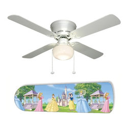 "Disney Princess Princesses Blue 42"" Ceiling Fan and Lamp - 42-inch 4-blade ceiling fan with a dome lamp kit that comes with custom blades. It has a white flushmount fan base.  It has an energy efficient 3-speed reversible airflow motor for year long comfort.  It comes with complete installation/assembly instructions.  The blades can be cleaned with a damp cloth.  It is made with eco-friendly/non-toxic products. This is brand new and shipped in the original box.  This is not a licensed product, but is made with fully licensed products."